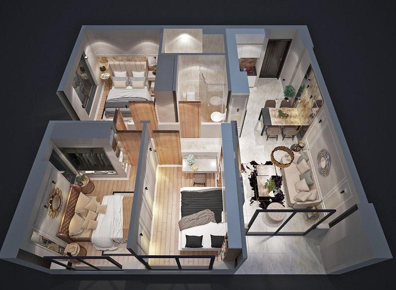 nhà mẫu căn hộ Bcons Garden 3d