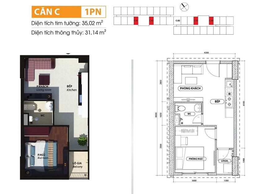Thiết kế căn 1 phòng ngủ căn hộ Bcons Suối Tiên