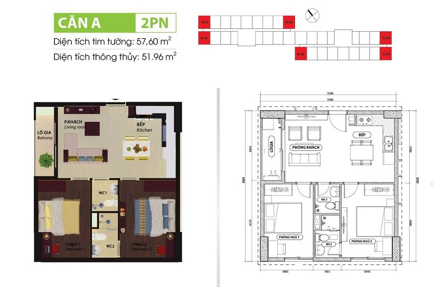 Thiết kế căn 2 phòng ngủ dự án căn hộ Bcons Suối Tiên