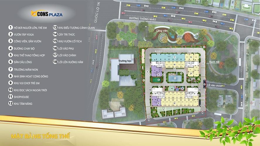 Mặt bằng tổng thể căn hộ bcons Plaza